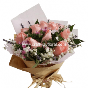 Dreamland Pink Bouquet: This bouquet speaks of excessive enthusiasm where Pink color represents freshness of energy, joy and calm confidence in life. Blooms consists: Pink Roses, Sweet Williams, White Baby's Breaths, Ruscus and Dried Lavenders.