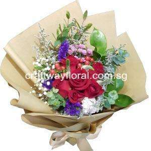 This bouquet of radiantly red roses will bring great happiness when it is presented to your loved ones, making both look very attractive.Blooms contains : Red Roses, Statices, White Baby's Breaths, Hypericums, Ruscus, Caspias and Eucalyptus.
