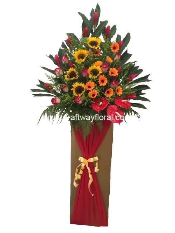 Floral stands include Sunflowers, Orange Gerberas, Red Anthuriums, Ginger Flowers, Golden Phoenix Sprays, Red Roses, Johor Ferns, and Other Lush Foilages.