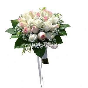 Our hand-tied white and pink rose bridal bouquet symbolizes youth and innocence, so they are a perfect choice for wedding.