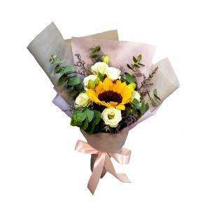Sunflower bouquet with white eustomas, purple caspias and eucalyptus leaves. Suitable for graduation.