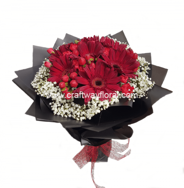 This bouquet consists of red gerberas, red hypericums, white baby's breaths.