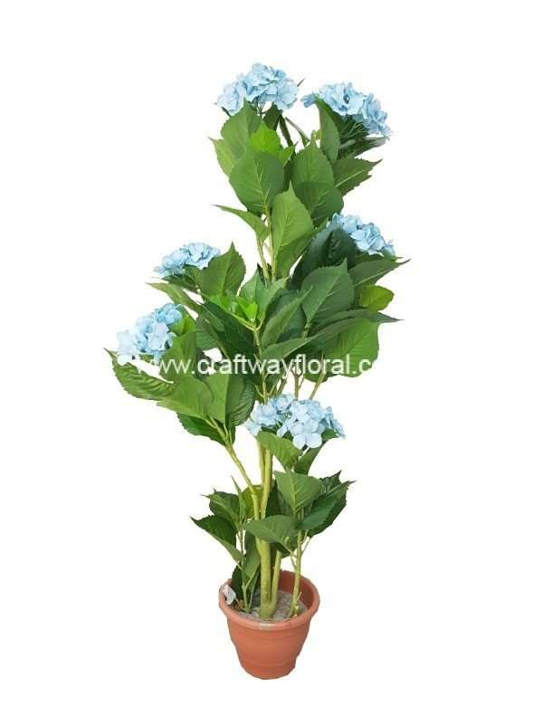 Artificial Blue Hydrangea Plant ~4 Feet from front-view.