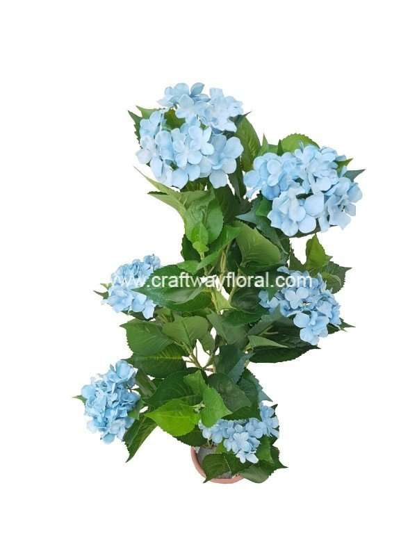 Artificial Blue Hydrangea Plant ~4 Feet Top-view.