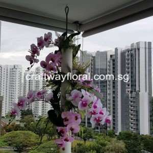 Custom-made Artificial Purple Phalenopsis Hanging Arrangement