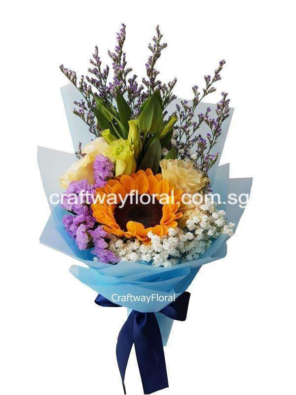 An image consist of single sunflower bouquet with fillers wrapped professionally.