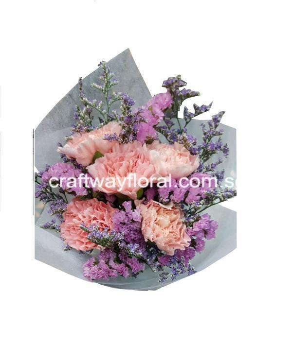 Bouquet consist Carnations, Statices and caspias.