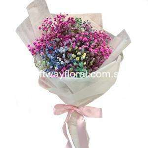 Rainbow colored baby's breaths nicely arranged in a bouquet.