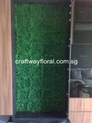 Wall frame decorated with artificial grass patches.