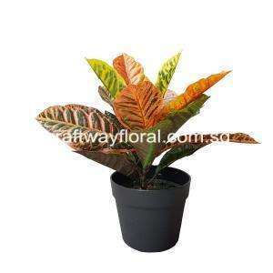 Artificial Croton Plant, oranged leaves from front view