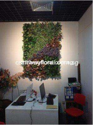 Green wall Decor with artificial leaves variations
