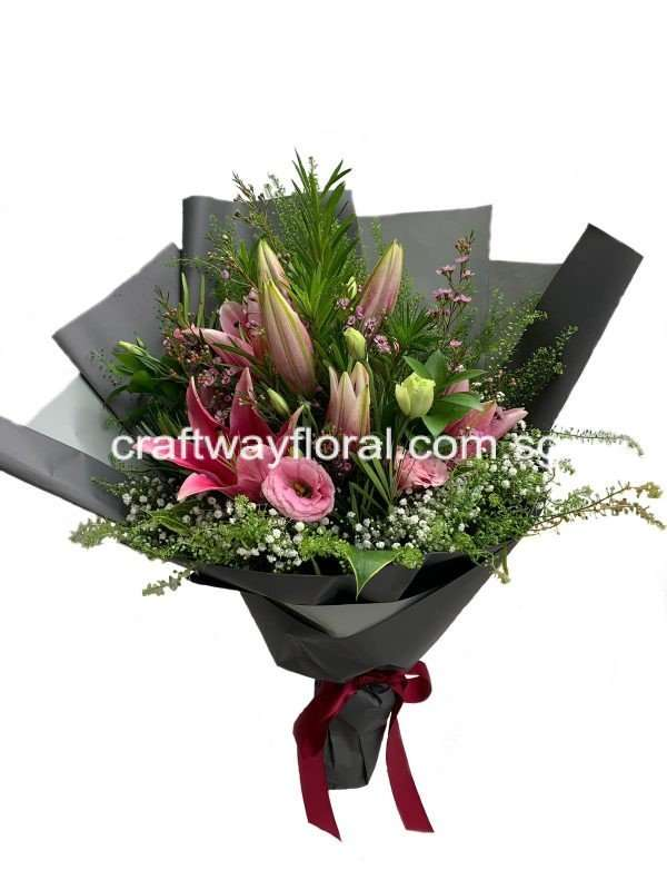 Lily Elegance, spikes with pink eustomas and surrounded in black wrapping, is going to be a great surprise for your loved ones.