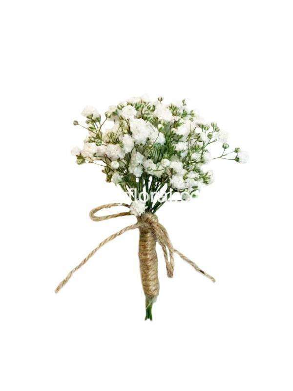 White Baby's Breaths corsage/ boutonniere with jute twine.