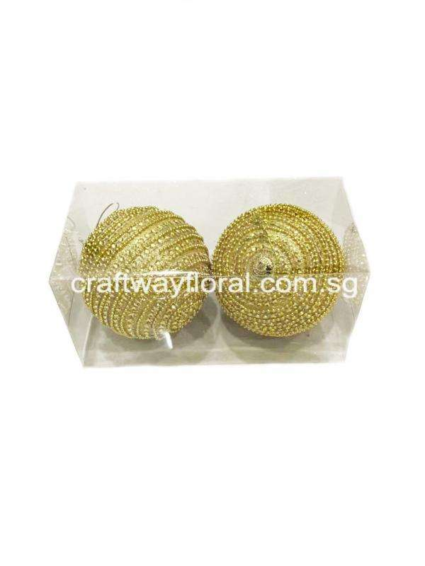 Gold Beaded Ornament Balls 10cm