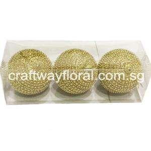 Gold Beaded Ornament Balls 8cm