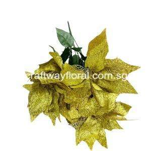 5 head Artificial Poinsettia bunch in Gold