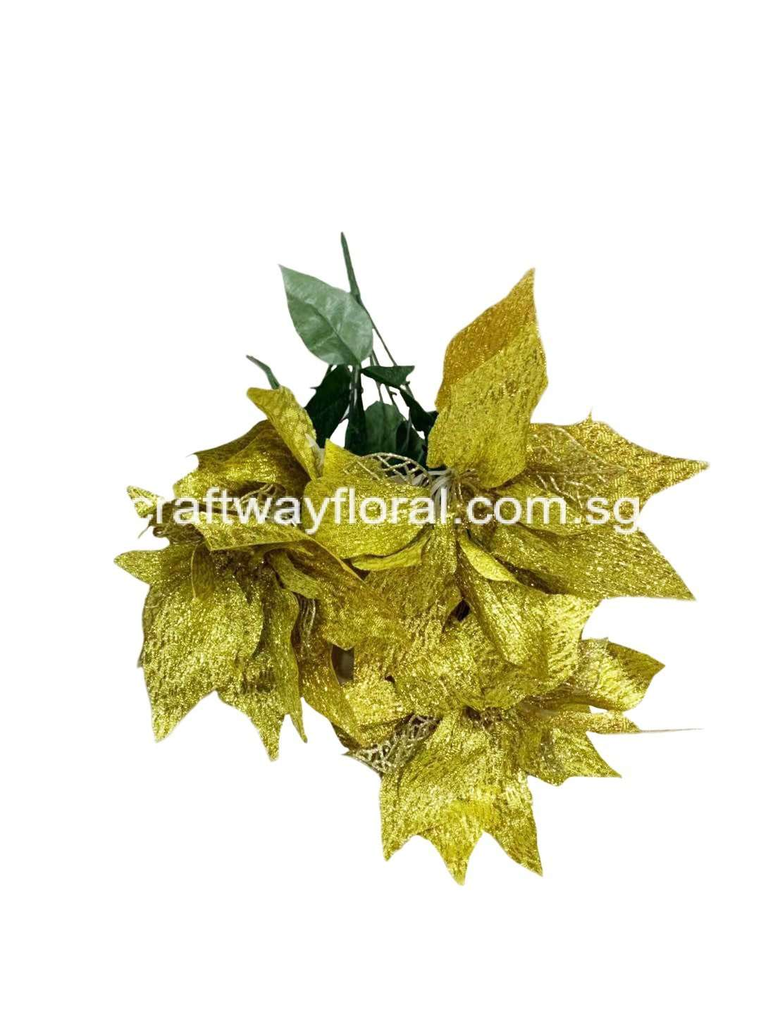 Artificial Gold Poinsettia Bunch Craftway Floral Gifts