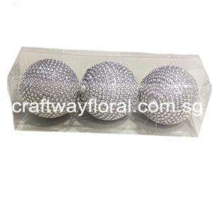 Silver Beaded Ornament Balls 8cm