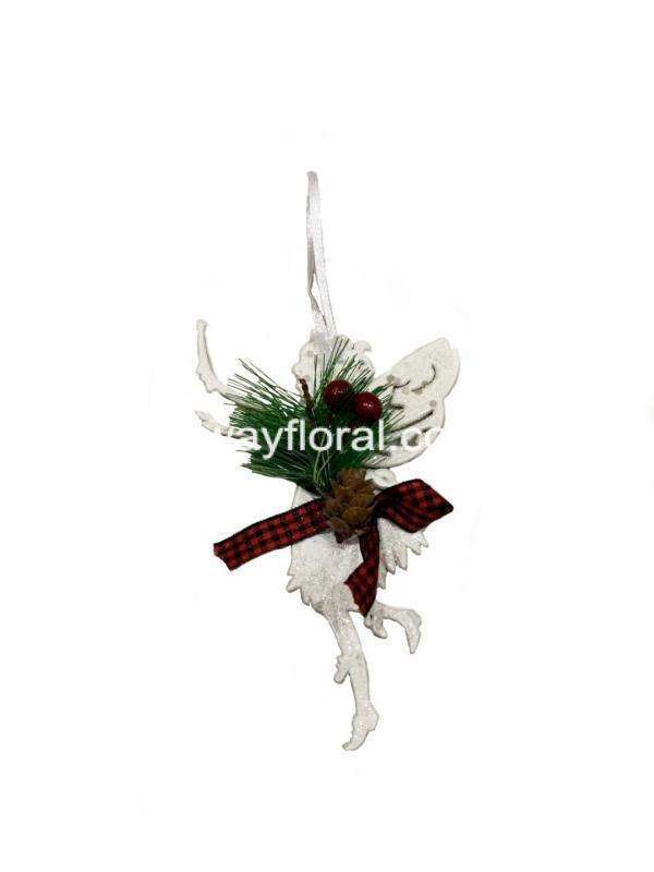 Magnificently detailed, this impressive ornament makes a wonderful addition to any Christmas decor scheme. Wearing a beautiful Christmas ribbon and ornament to coordinate with her magnificent wings.It is a fabulous decoration that features the magic of Christmas.