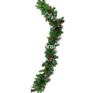 This attractive Christmas Garland has mixed branches tips that create a uniquely softer appearance. It is teamed with red berries and pine cones for extra color and warmth. This indoor/outdoor garland can be displayed over doors, windows or wrapped around fence or stairway railings.