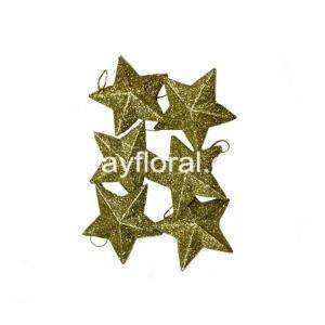 6-Pack of Christmas Tree Ornaments - Star Hanging Decorations Gold Glitter Stars Splendid Christmas Tree Ornament Stars, Suitable for festival decoration.