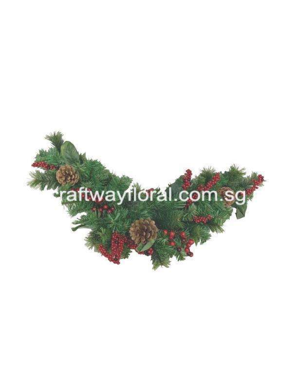 For a more traditional decorating arrangement, where less is more, the swag may be just what you're looking for. It features pine cones and red berries for added natural appeal. It can be displayed over doors, windows ,etc. Bendable wire branches allow for you to easily shape the swag and accommodate your decorating needs. Green metal hooks on each end for easy hanging