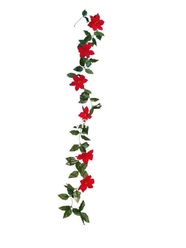 Fill arid areas with this poinsettia Christmas garland that symbolizes the holidays that instantly permeates any room with the holiday mood.
