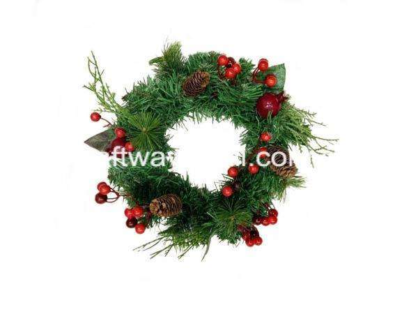 35cm wide christmas wreath with red assortments