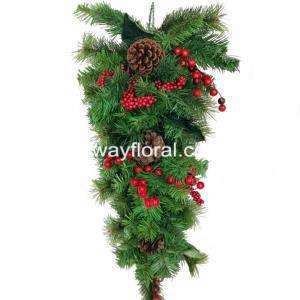 Artificial Christmas Swag with Red Assortments 70cm