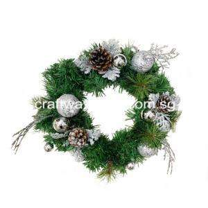 Artificial Wreath with Silver Assortment 35cm