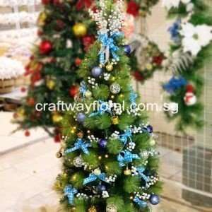 The Christmas Pine Tree has leaves that are needle-like, long and thick, with light to dark green shades. Blue and White Christmas scheme usually communicates a soothing, tranquil adding cool, elegance and a winter effect to the holiday decor.