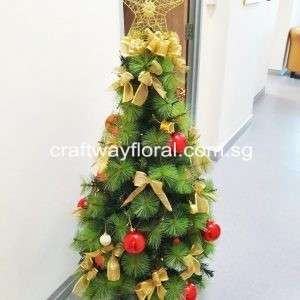 This Gold/Red Christmas Pine Tree represent confidence, luxury that reflects both charm and warm energizing love. It will bring a powerful presence.