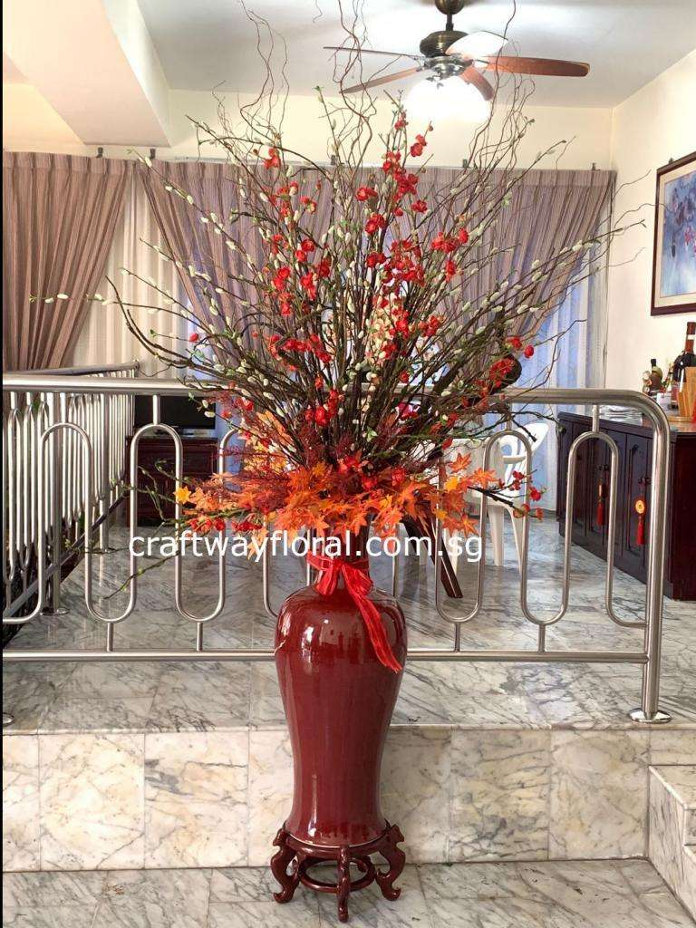 Artificial Red Cherry Blossoms with Pussy Willows and Maple Leaves Arrangement