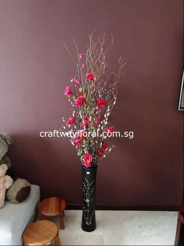 Artificial Red Peonies with Pussy Willows Arrangement