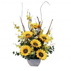 Artificial Sunflower & Yellow Dancing Orchid Arrangement 70cmH x 50cmW $60