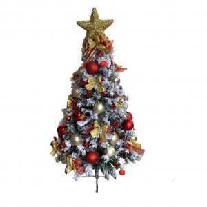 Red/Gold1.2m/4ft Flocked Christmas Tree AEE