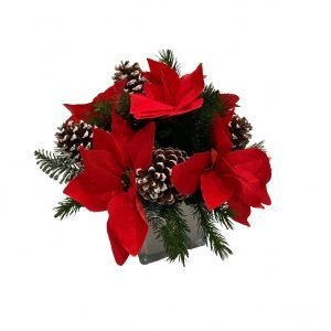 Artificial Poinsettia with White Acorn Arrangement 30cmH x 30cmW