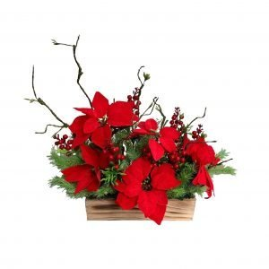 Artificial Poinsettia with Red Berries 45cmH x 50cmW
