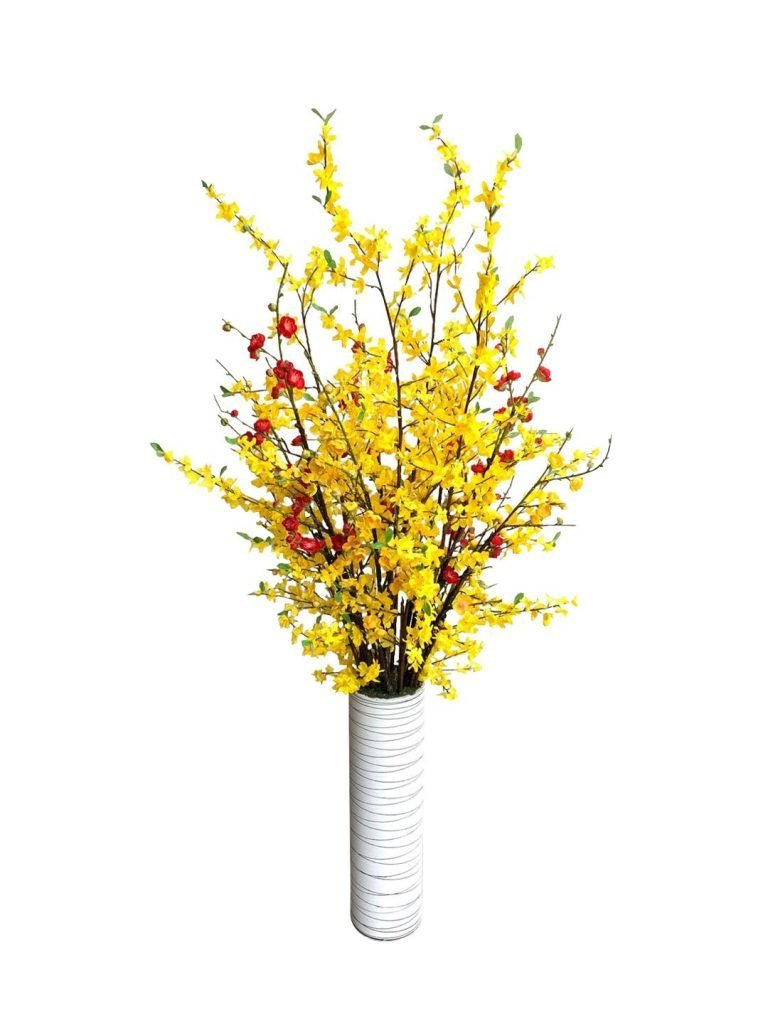Artificial Yellow Forsythias with Red and Yellow Cherry Blossoms